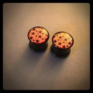 "9/16"" pink and black star, plugs gauges"